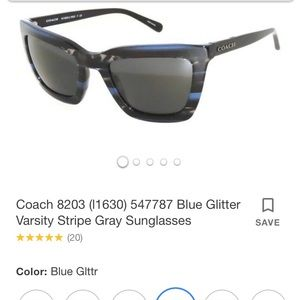 Coach Blue Glitter Varsity Stripe Sunglasses